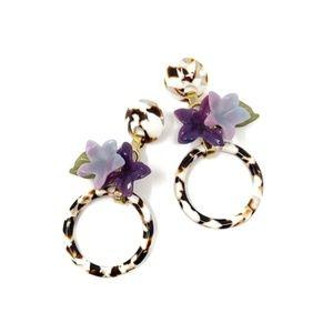 Lele Sadoughi Hibiscus Hoop Leopard Earrings